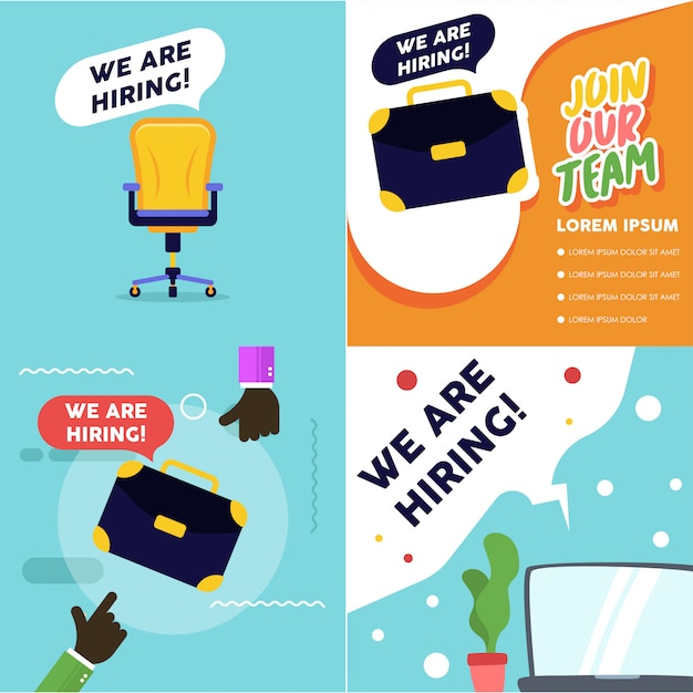 Illustration de poste vacant. nous embauchons la bannière de vacance. processus de recrutement Vecteur Premium