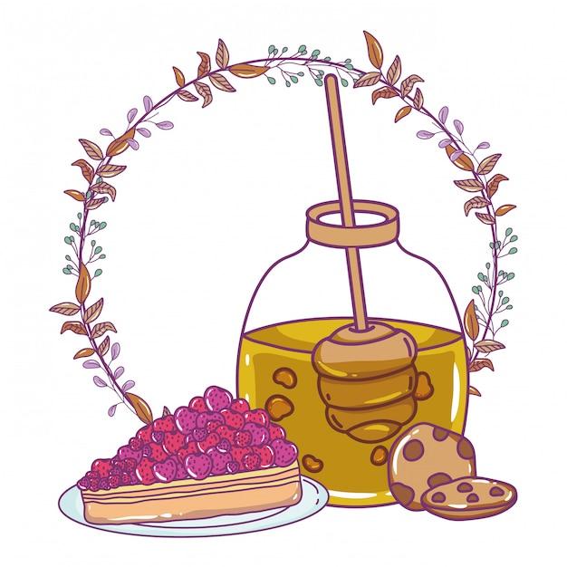 Illustration de pot de miel isolé Vecteur Premium
