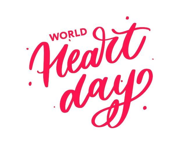 Illustration pour la calligraphie de lettrage de la journée mondiale du coeur Vecteur Premium
