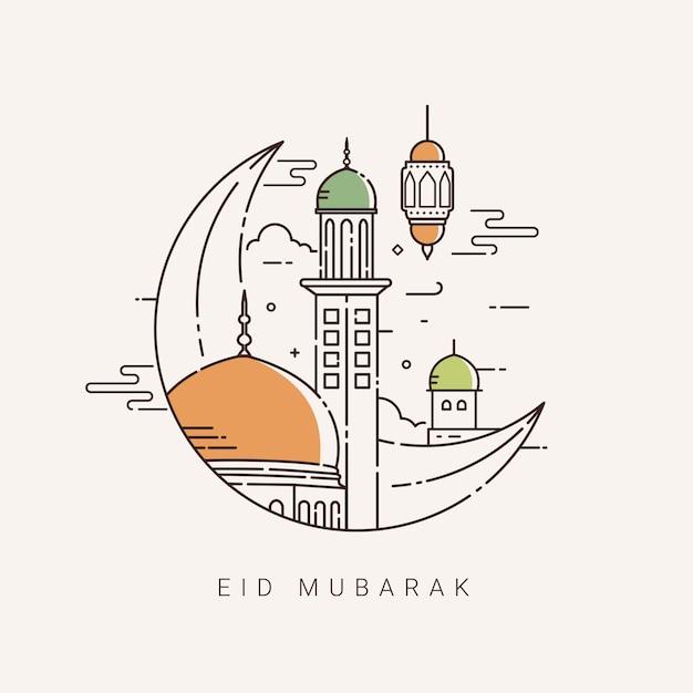 Illustration Pour La Célébration De L'eid Mubarak Avec Dessin Au Trait Vecteur Premium