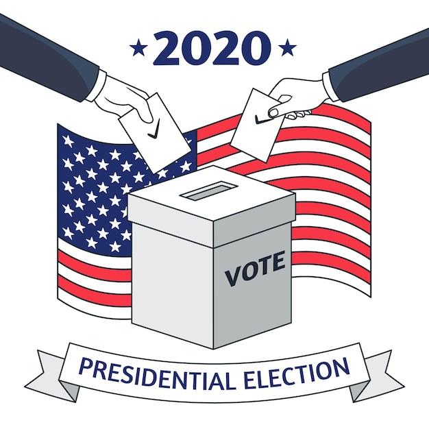 Illustration Pour L'élection Présidentielle Américaine De 2020 Vecteur Premium