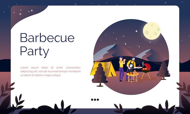 Illustration pour la page de destination, barbecue au camp d'été Vecteur Premium