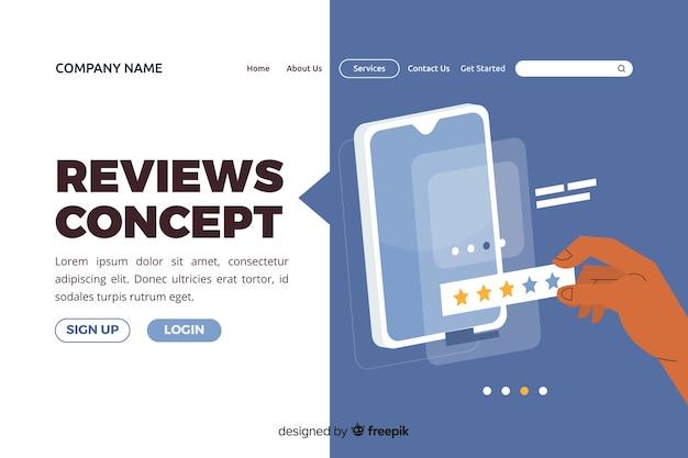 Illustration pour la page de destination avec le concept d'avis Vecteur gratuit