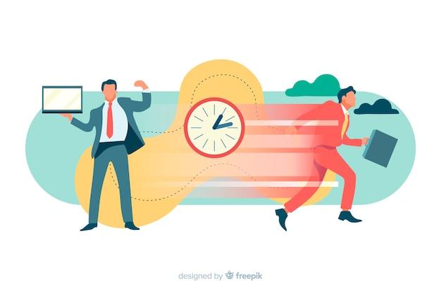 Illustration pour la page de destination avec le concept de gestion du temps Vecteur gratuit