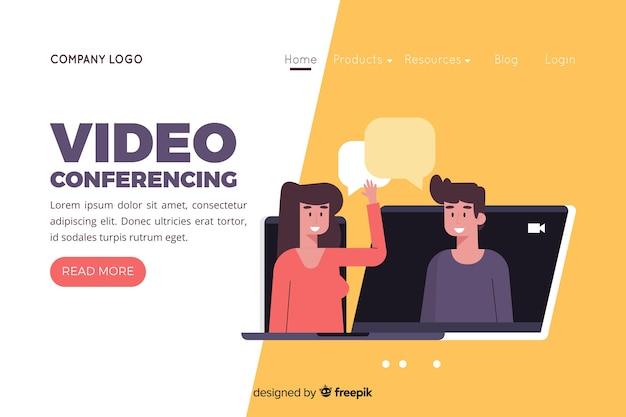 Illustration pour la page de destination avec le concept de vidéoconférence Vecteur gratuit