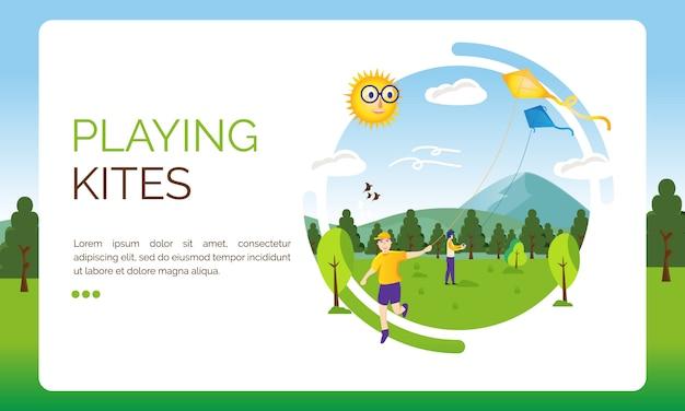 Illustration pour la page de destination, enfant jouant des cerfs-volants Vecteur Premium