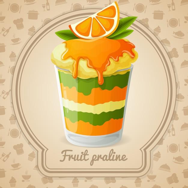 Illustration de praline de fruits Vecteur Premium