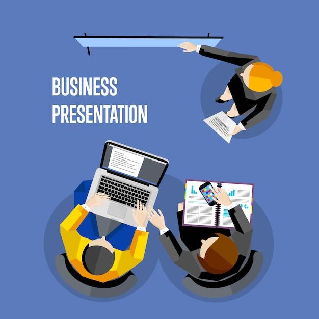 Illustration de présentation entreprise vue de dessus. Vecteur Premium