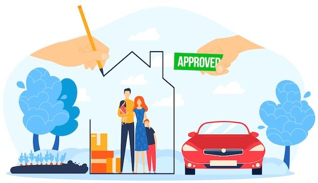 Illustration De Prêt Hypothécaire Approuvé. Vecteur Premium