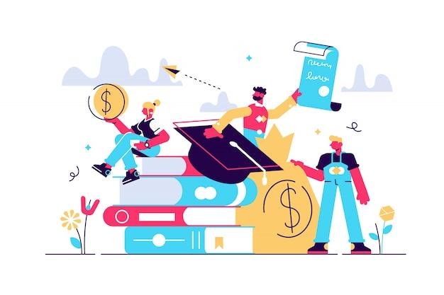 Illustration Des Prêts étudiants. Concept De Personnes Minuscules étude Finance. Vecteur Premium
