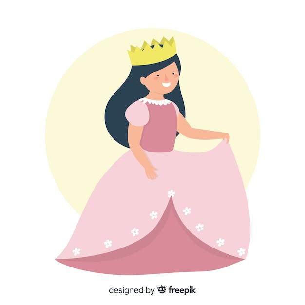 Illustration de princesse plate aux cheveux noirs Vecteur gratuit