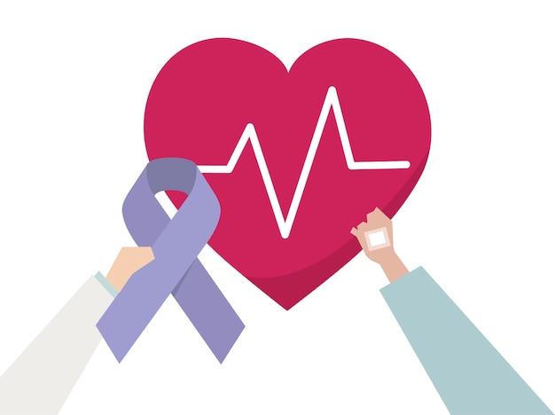Illustration d'une prise de conscience pour une maladie cardiaque Vecteur Premium
