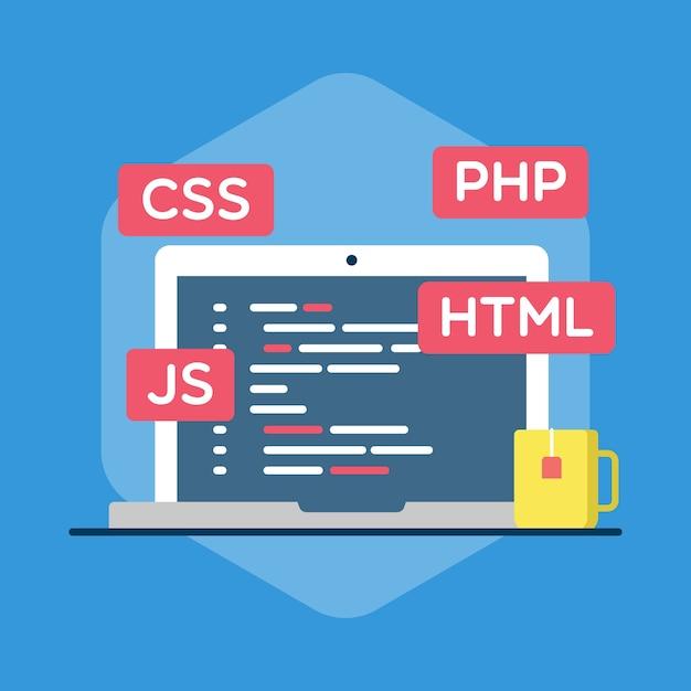 Illustration de programmation web Vecteur Premium