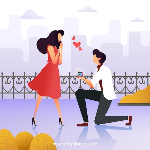 Illustration d'une proposition de mariage Vecteur gratuit