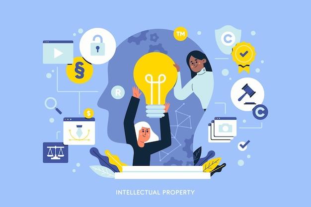 Illustration De La Propriété Intellectuelle Vecteur Premium