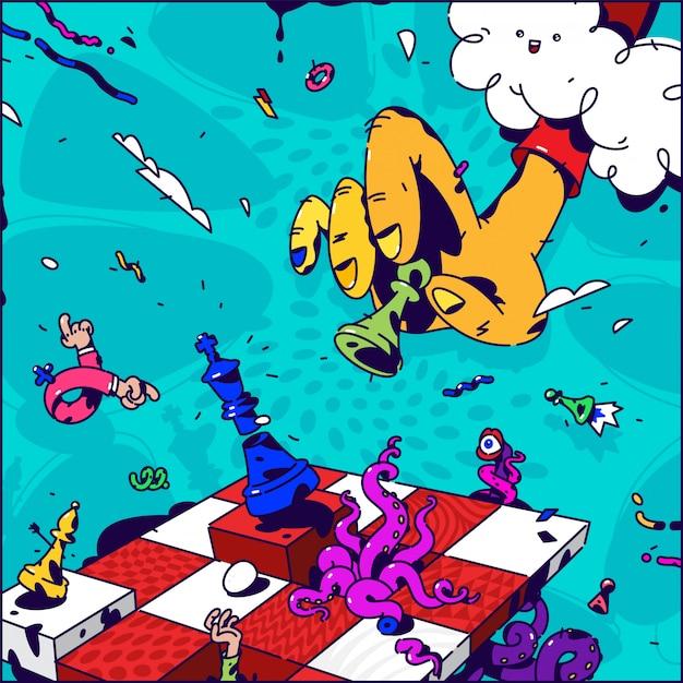 Illustration psychédélique sur les échecs Vecteur Premium