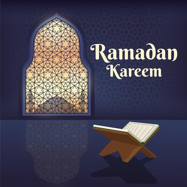 Illustration De Ramadan Kareem Design Plat Vecteur Premium