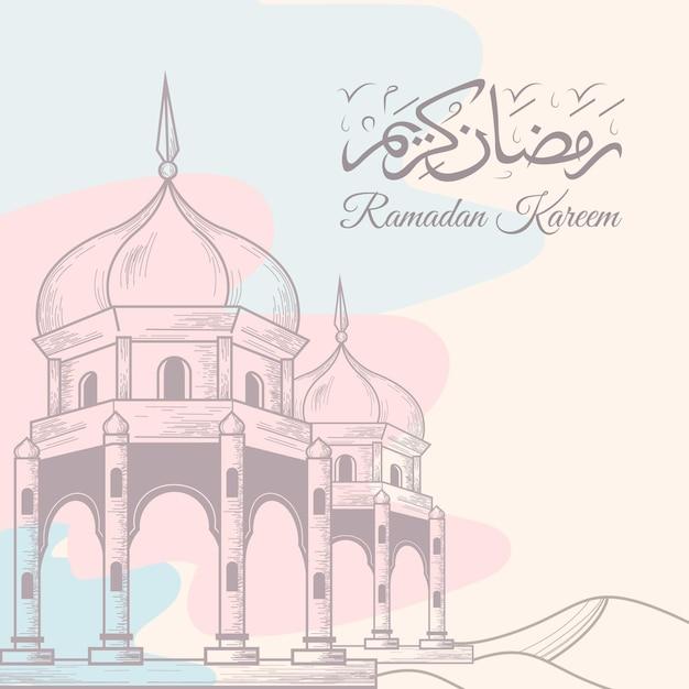 Illustration De Ramadan Kareem Dessiné à La Main Vecteur gratuit