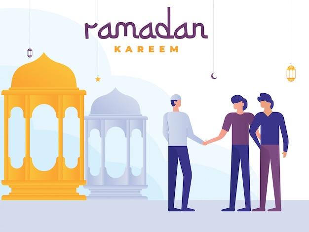 Illustration de ramadan kareem avec de petites personnes Vecteur Premium