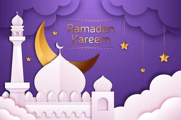 Illustration De Ramadan Kareem En Style Papier Vecteur gratuit