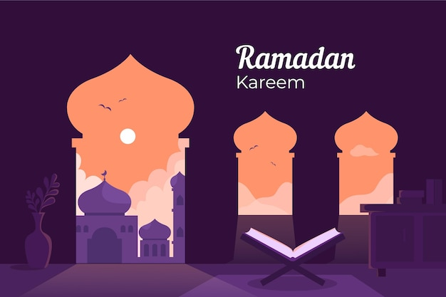 Illustration De Ramadan Plat Vecteur gratuit