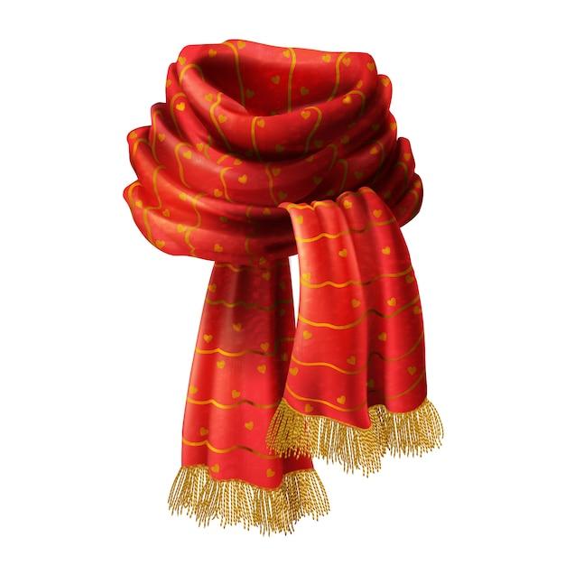 Illustration réaliste 3d de l'écharpe rouge avec motif décoratif et frange or, isola Vecteur gratuit
