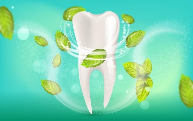 Illustration réaliste de dentifrice à la menthe naturelle Vecteur Premium