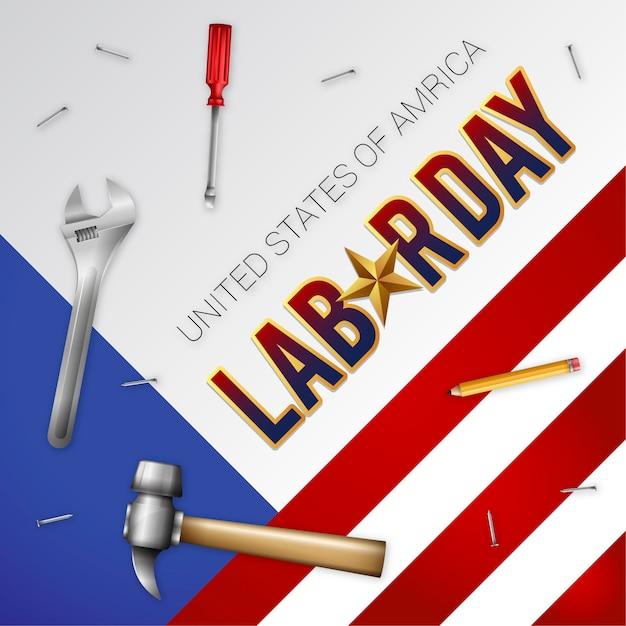 Illustration réaliste de la fête du travail des états-unis Vecteur Premium