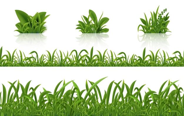 Illustration Réaliste De L'herbe Verte Vecteur Premium