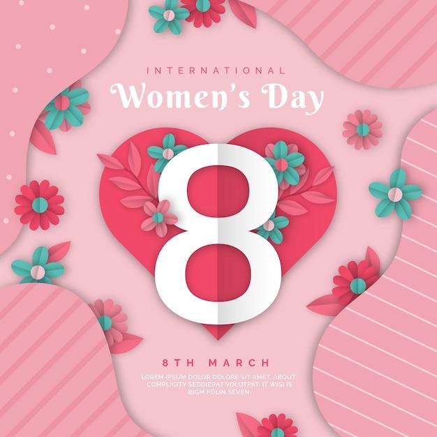 Illustration Réaliste De La Journée Internationale Des Femmes En Style Papier Vecteur gratuit