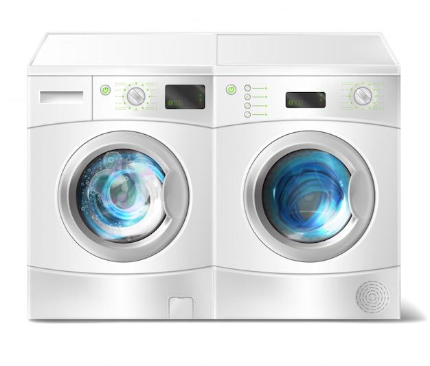 Illustration réaliste de la laveuse à chargement frontal blanche avec le linge sale à l'intérieur et le sèche-linge Vecteur gratuit