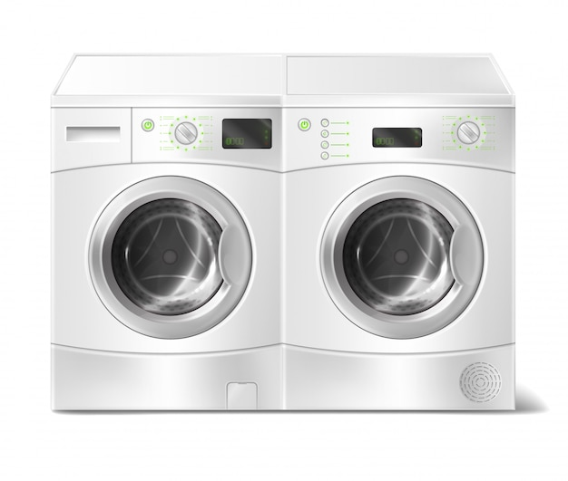 Illustration réaliste de laveuse et sécheuse à chargement frontal blanche, vide à l'intérieur Vecteur gratuit