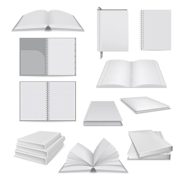 Illustration réaliste de maquettes de bloc-notes pour le web Vecteur Premium