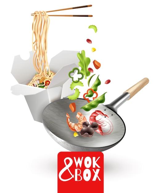Illustration réaliste de nouilles chinoises Vecteur gratuit