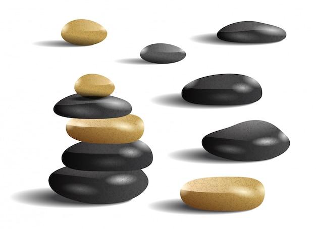 Illustration réaliste de pierres. salon de spa, zen, loisirs. concept de soins du corps. Vecteur gratuit