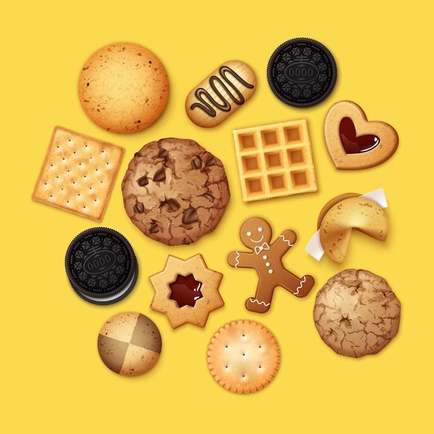 Illustration Réaliste De Pile De Différents Biscuits Au Chocolat Et Aux Pépites De Biscuit, Pain D'épice Et Gaufre Vecteur Premium