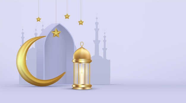 Illustration Réaliste De Ramadan Kareem En Trois Dimensions Vecteur gratuit