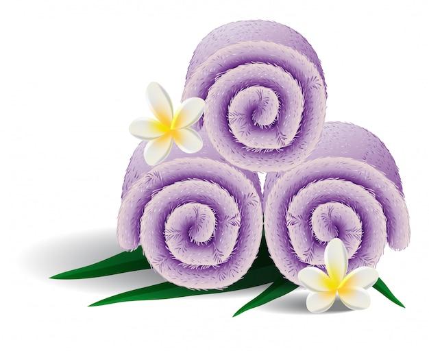 Illustration réaliste de serviettes roulées. fleurs, décoration, salon de spa. concept de service. Vecteur gratuit