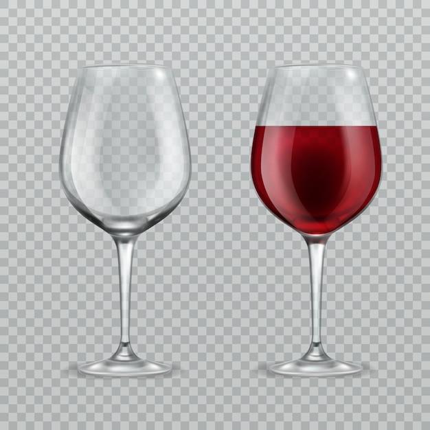 Illustration Réaliste De Verre à Vin. Vide Et Avec Des