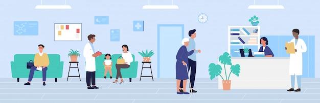 Illustration De Réception De L'hôpital, Personnages De Patients De Dessin Animé En Attente De Rendez-vous De Médecins, Fond De Bureau De Médecine De Santé Vecteur Premium