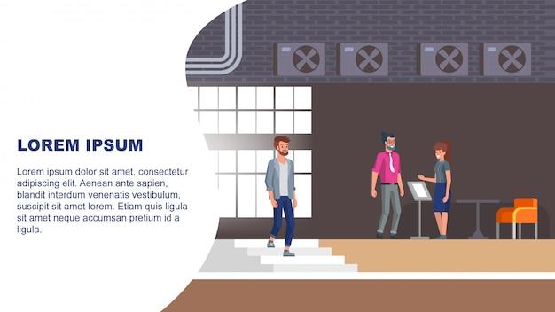 Illustration de la réception de l'hôtel Vecteur Premium