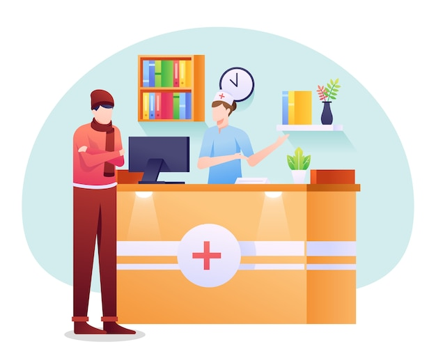 Illustration De Réceptionniste Médicale, Un Personnel Qui Aide La Partie Administrative Du Patient. Vecteur Premium
