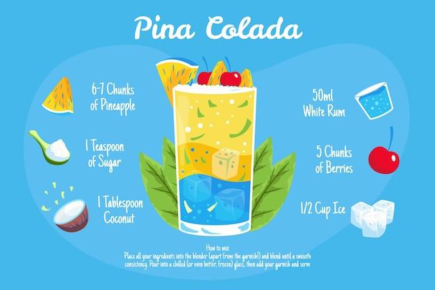 Illustration De Recette De Cocktail Pina Colada Vecteur gratuit