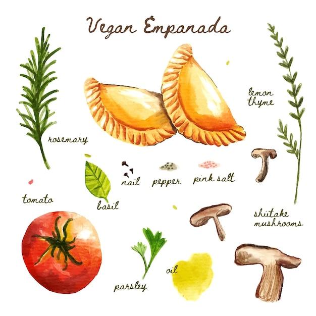 Illustration De Recette D'empanada Vecteur gratuit