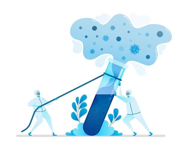 Illustration De La Recherche Pour Trouver Des Remèdes Contre Les Virus Et Des Vaccins. Vecteur Premium