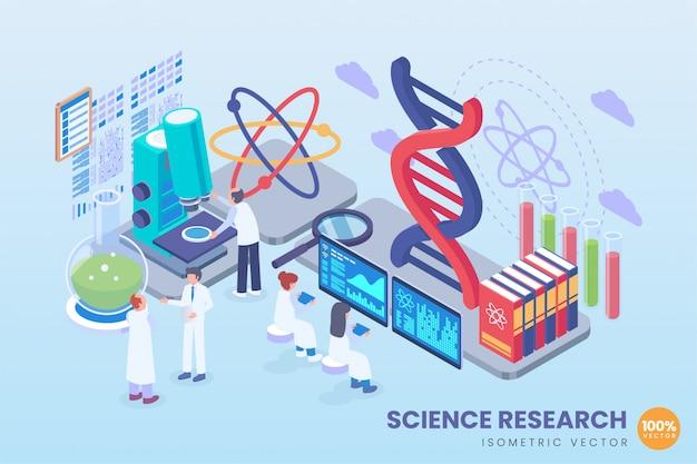 Illustration De Recherche Scientifique Isométrique Vecteur Premium
