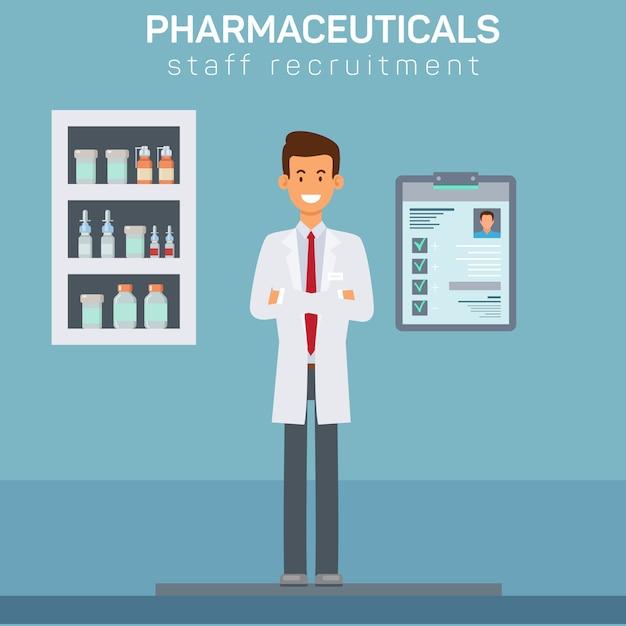 Illustration de recrutement de personnel de pharmacie Vecteur Premium