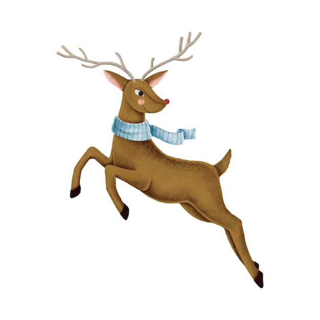 Illustration de renne sautant nez rouge Vecteur gratuit