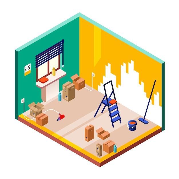 Illustration De Rénovation De Chambre De Section Transversale Isométrique De L'intérieur De La Petite Chambre Moderne Vecteur gratuit