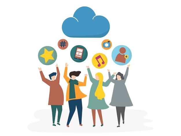 Illustration de réseau social et concept de partage Vecteur gratuit